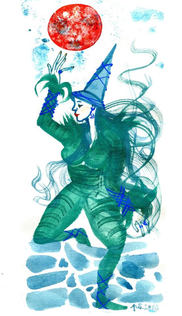 sorcière lune rousse