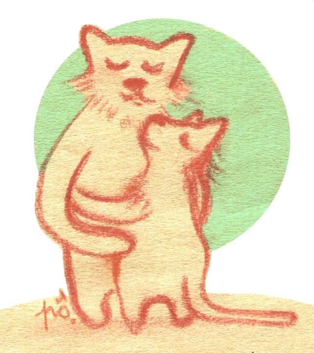 câlin chats lune vert d'ô