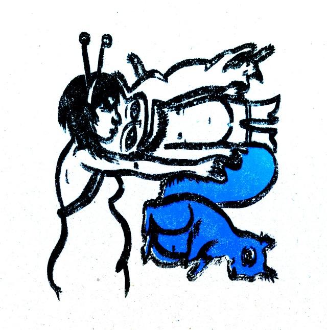 sérigraphie emboités écureuil bleu